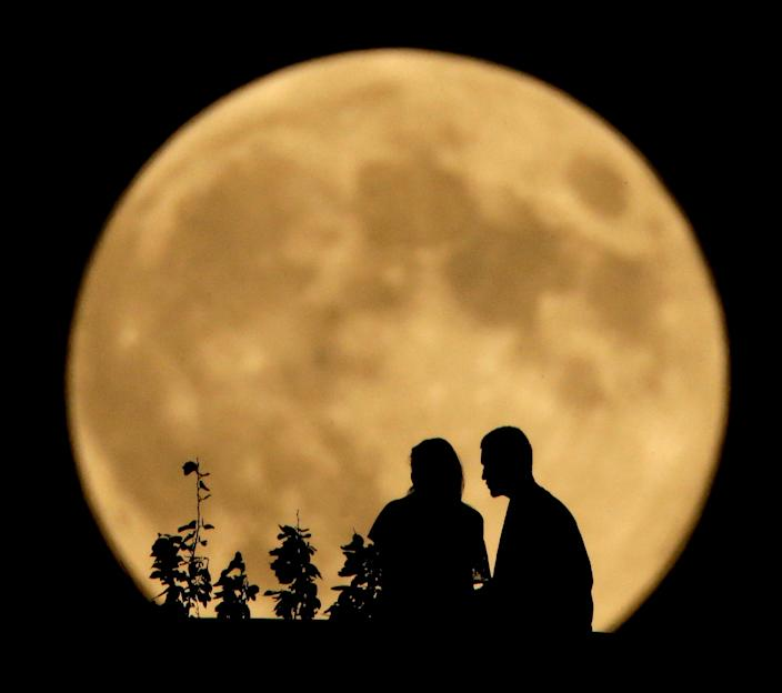 """""""The full moon that happens nearest to the autumnal equinox always takes on the name 'Harvest Moon,' """" according to the Old Farmers Almanac."""
