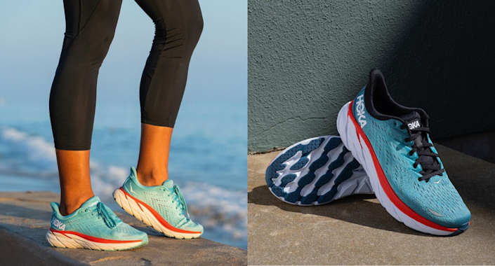 Gwyneth Paktrow, Kate Hudson, and Reese Witherspoon are all fans of Hoka One sneakers. Images via Instagram/HokaOneOne