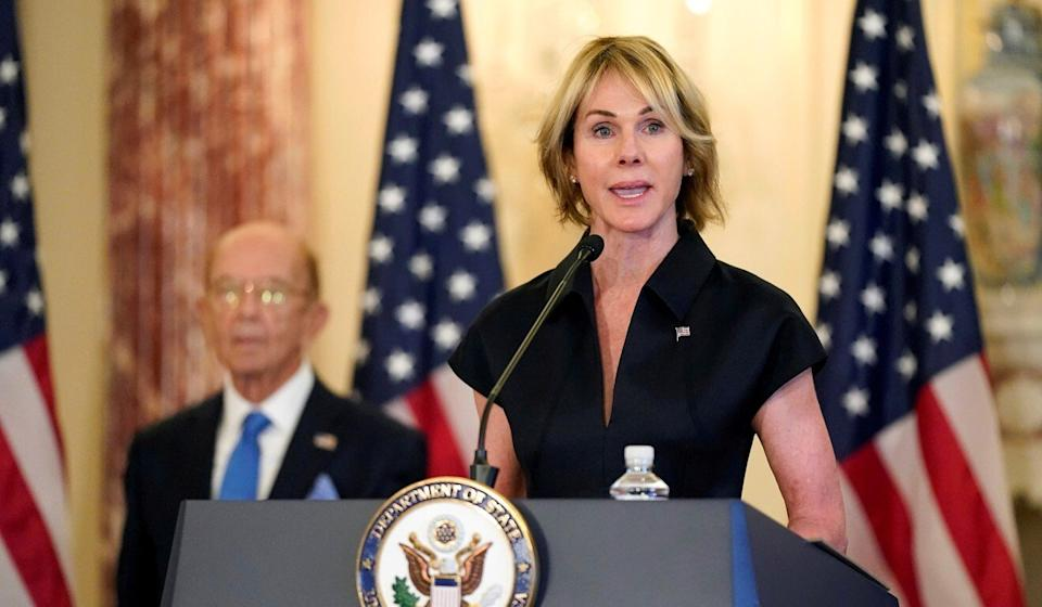 US Ambassador to the United Nations Kelly Craft speaks next to Commerce Secretary Wilbur Ross, during a news conference in Washington on September 21, 2020. Photo: Reuters