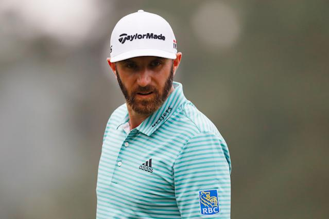 "<div class=""caption""> Dustin Johnson looks on during Monday's practice round prior to the 2019 Masters. </div> <cite class=""credit"">Kevin C. Cox/Getty Images</cite>"