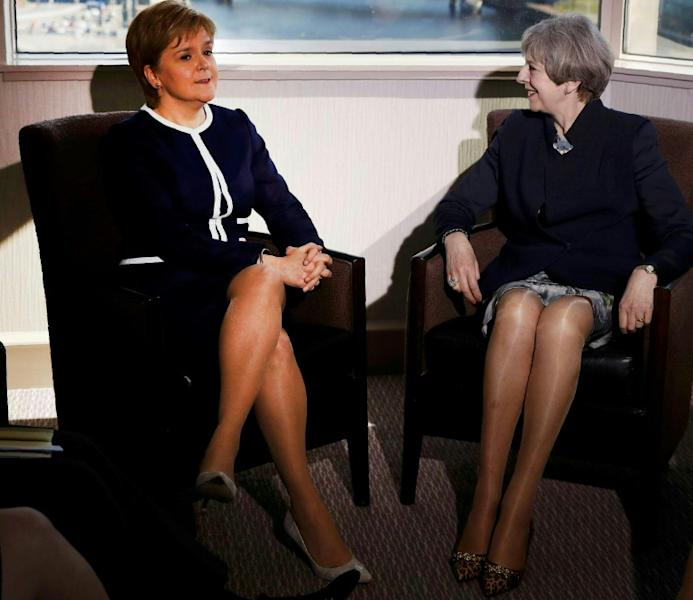 British Prime Minister Theresa May (right) holds talks with Scotland's First Minister Nicola Sturgeon in Glasgow on March 27, 2017