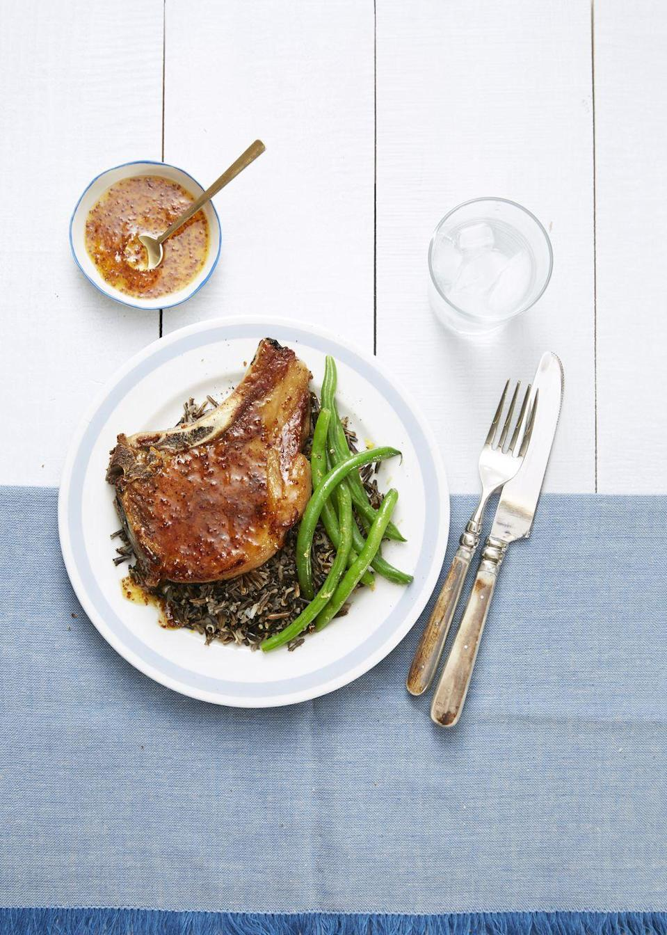 "<p>Stock up on apricot jam and grainy mustard, so you're always ready to whip up this sweet 'n' sticky glaze.</p><p><a href=""https://www.goodhousekeeping.com/food-recipes/easy/a34147/pork-chops-with-mustard-apricot-sauce/"" rel=""nofollow noopener"" target=""_blank"" data-ylk=""slk:Get the recipe for Pork Chops with Mustard-Apricot Sauce »"" class=""link rapid-noclick-resp""><em>Get the recipe for Pork Chops with Mustard-Apricot Sauce »</em></a></p>"