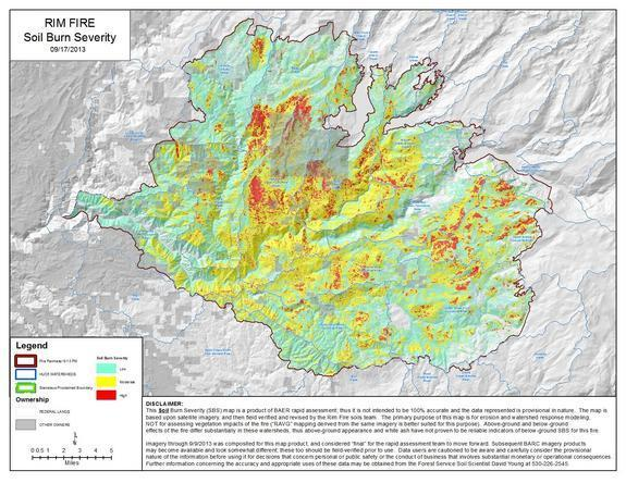 An estimate of soil burn severity after the Rim Fire from the Forest Service.