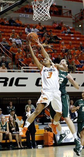 Oklahoma State's Tiffany Bias (3) shoots a layup in front of Cal Poly's Caroline Reeves (22) during an NCAA women's college basketball game in Stillwater, Okla., Friday, Nov. 9, 2012. (AP Photo/The Oklahoman, Sarah Phipps)