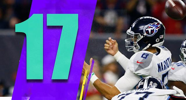 <p>Monday night's loss was a tough one, but take a peek at what they have left: vs. Jets, vs. Jaguars, at Giants, vs. Redskins, at Colts. It's very easy to talk yourself into the Titans winning four in a row and being 9-6 facing the Colts in Week 17. (Marcus Mariota) </p>