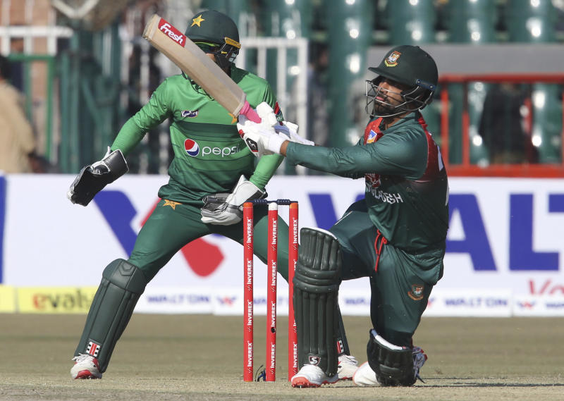 Bangladesh batsman Tamim Iqbal plays against Pakistan at the Gaddafi Stadium in Lahore, Pakistan, Friday, Jan. 24, 2020. Pakistan and Bangladesh are playing their first T20 of the three matches series under tight security. (AP Photo/K.M. Chaudary)