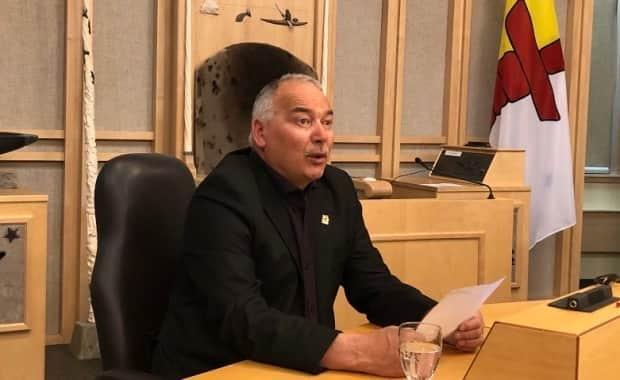 Premier Joe Savikataaq speaks at an update on government response to COVID-19 at the Legislative Assembly.