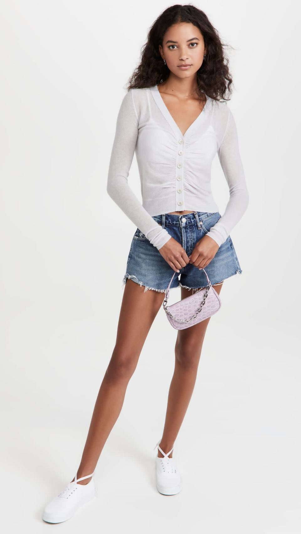 <p>This <span>Rebecca Taylor Ruche Cardigan</span> ($245) is a perfect summer-to-fall transition piece. The ruching is sexy and flattering, so it's a sweater you could actually wear for a night out.</p>