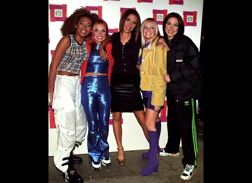 <strong>1996</strong>  The Spice Girls arrive at the Lloyds Bank British Fashion Awards in London