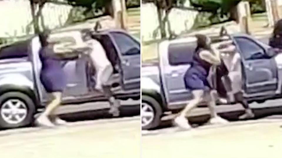 Two drivers were caught on camera in the middle of a heated bust-up in Sydney, with one woman throwing a barrage of punches. Source: 7News