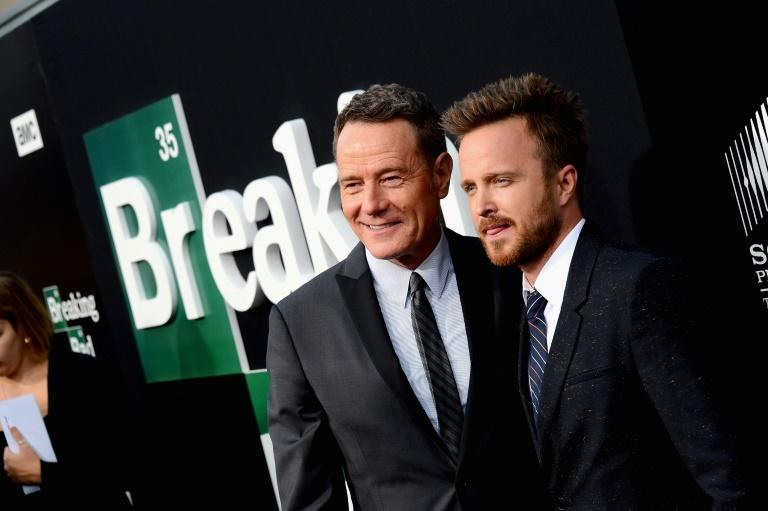 """Aaron Paul (R), pictured with """"Breaking Bad"""" actor Brian Cranston in 2013, will star in a movie set after the hit TV show's conclusion"""