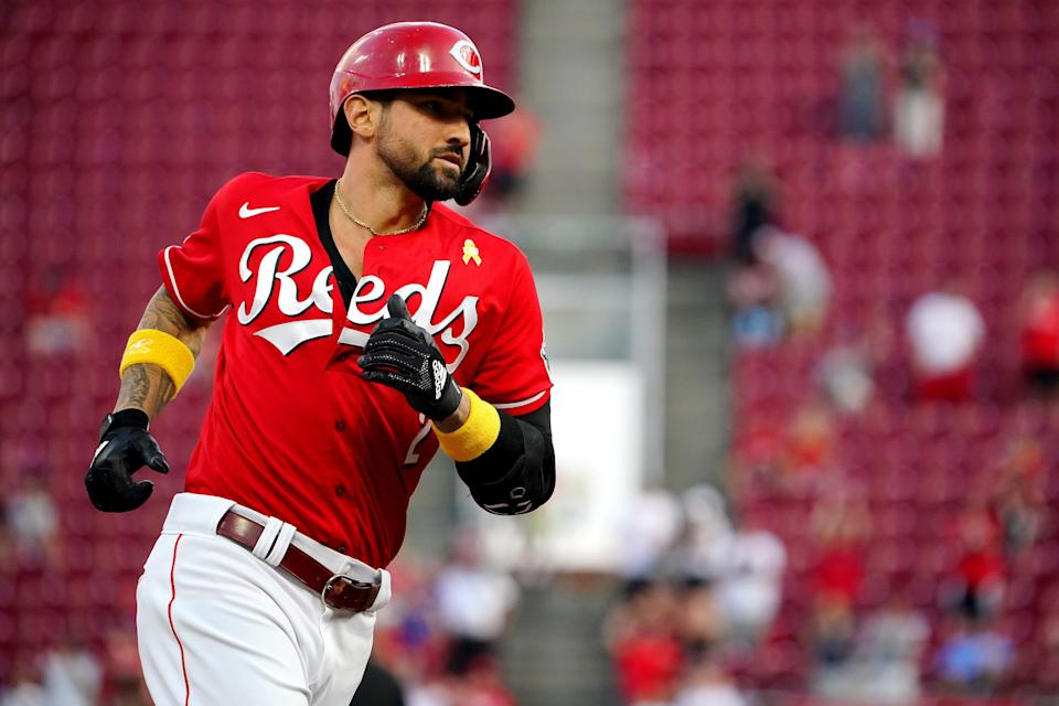 Cincinnati Reds right fielder Nick Castellanos (2) rounds the bases after hitting a grand slam home run in the second inning of a baseball game against the St. Louis Cardinals, Wednesday, Sept. 1, 2021, at Great American Ball Park in Cincinnati.