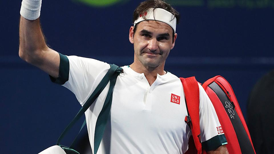 Roger Federer, pictured here waving to the crowd after his defeat to Nikoloz Basilashvili at the Qatar Open.