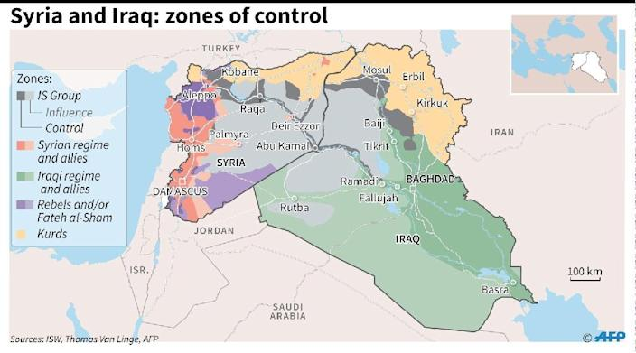 Syria and Iraq: zones of control (AFP Photo/)