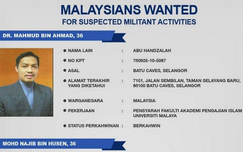 Mahmud Ahmad, now 39, was put on Malaysia's most-wanted list in April 2014 after joining Hapilon's Abu Sayyaf terrorist group