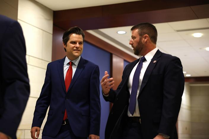 Rep. Matt Gaetz, R-Fla., arrives at a caucus meeting May 14, 2021, to pick a replacement for Rep. Liz Cheney, R-Wyo., as chair of the House Republican Conference in the U.S. Capitol Visitors Center in Washington, D.C.