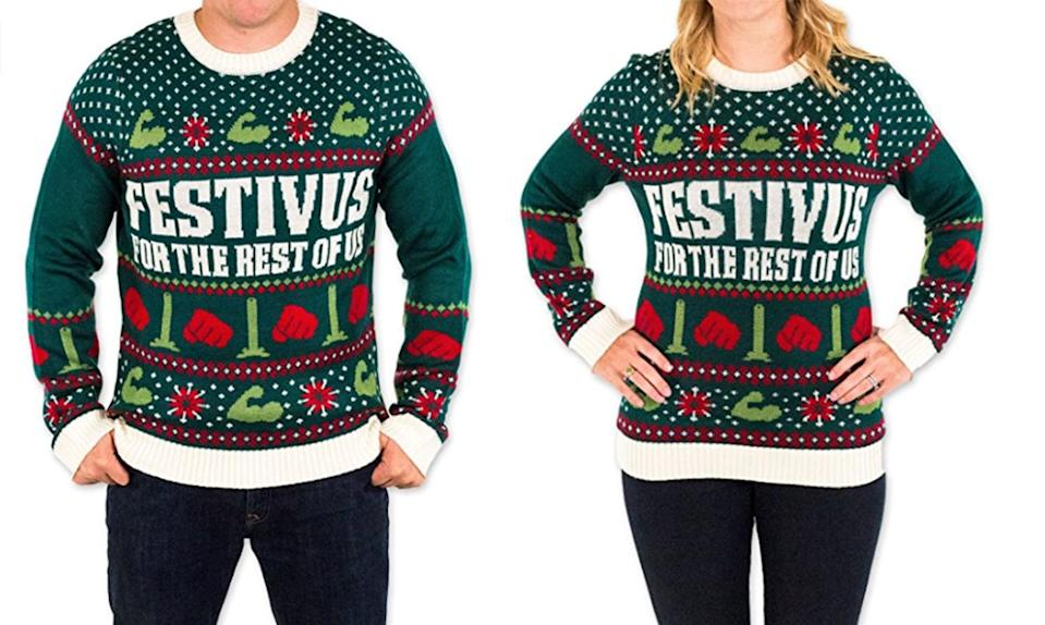 """<p>The feats of strength and the aluminum pole are both depicted in this perfectly festive nod to Festivus, Frank Costanza's holiday for the rest of us. <a rel=""""nofollow noopener"""" href=""""https://www.amazon.com/Festivus-Christmas-Sweater-Festified-X-Large/dp/B01EIG8HP6/ref=sr_1_1?ie=UTF8&qid=1511365981&sr=8-1&keywords=festivus+ugly+christmas+sweater"""" target=""""_blank"""" data-ylk=""""slk:Buy here"""" class=""""link rapid-noclick-resp""""><b>Buy here</b></a> </p>"""