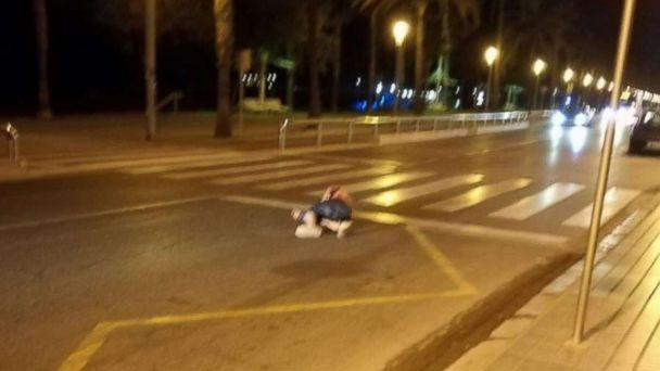 PHOTO: An eyewitness told ABC News that the individual lying here, in a street south of Barcelona, Spain, on August 18, 2017, is that of one of the alleged terrorists involved in a planned attack. (Manuel Garcia)
