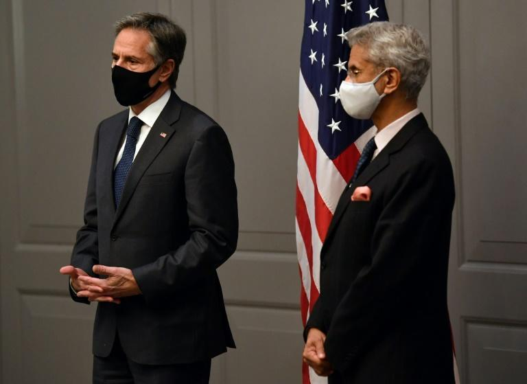 US Secretary of State Antony Blinken with India's Foreign Minister Subrahmanyam Jaishankar at a press conference on the sidelines of G7 foreign ministers meeting.