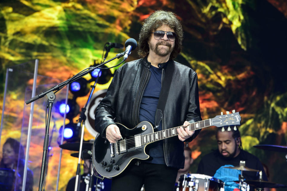 FILE - In this June 26, 2016 file photo, Jeff Lynne from British band Electric Light Orchestra performs at the Glastonbury music festival at Worthy Farm, in Somerset, England. The late rapper Tupac Shakur and Seattle-based rockers Pearl Jam lead a class of Rock and Roll Hall of Fame inductees that also include folkie Joan Baez and 1970s favorites Journey, Yes and Electric Light Orchestra. The hall's 32nd annual induction ceremony will take place on April 7, 2016, at Barclays Center in Brooklyn, N.Y. (Photo by Jonathan Short/Invision/AP, File)
