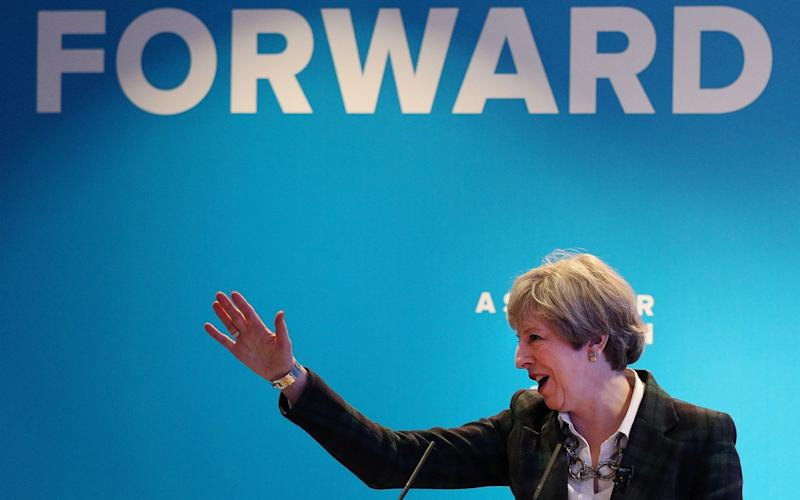 Britain's Prime Minister Theresa May speaks at the launch of the Scottish manifesto by Scottish Conservative leader Ruth Davidson in Edinburgh on May 19, 2017. - AFP