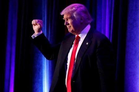 FILE PHOTO: Republican presidential nominee Donald Trump arrives for his election night rally at the New York Hilton Midtown in Manhattan, New York, U.S.