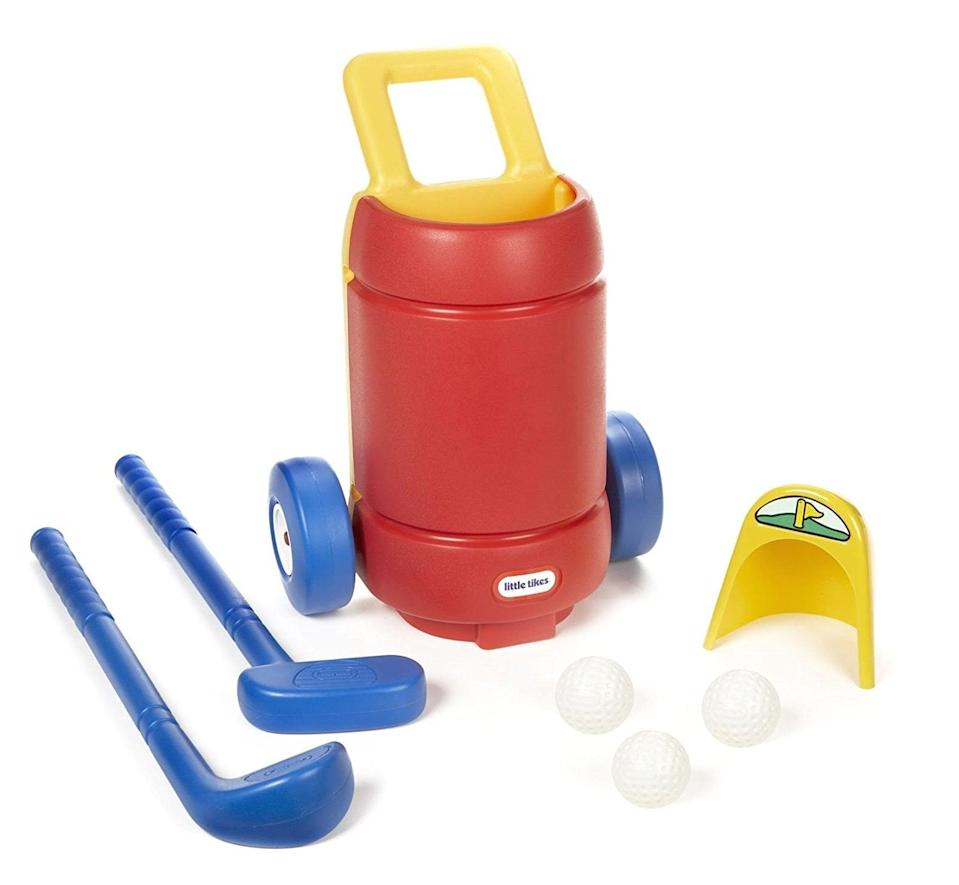 <p>Your kids will love that they can wheel around their own golf carts and practice their shots with this <span>Little Tikes Totsports Easy Hit Golf Set</span> ($26).</p>