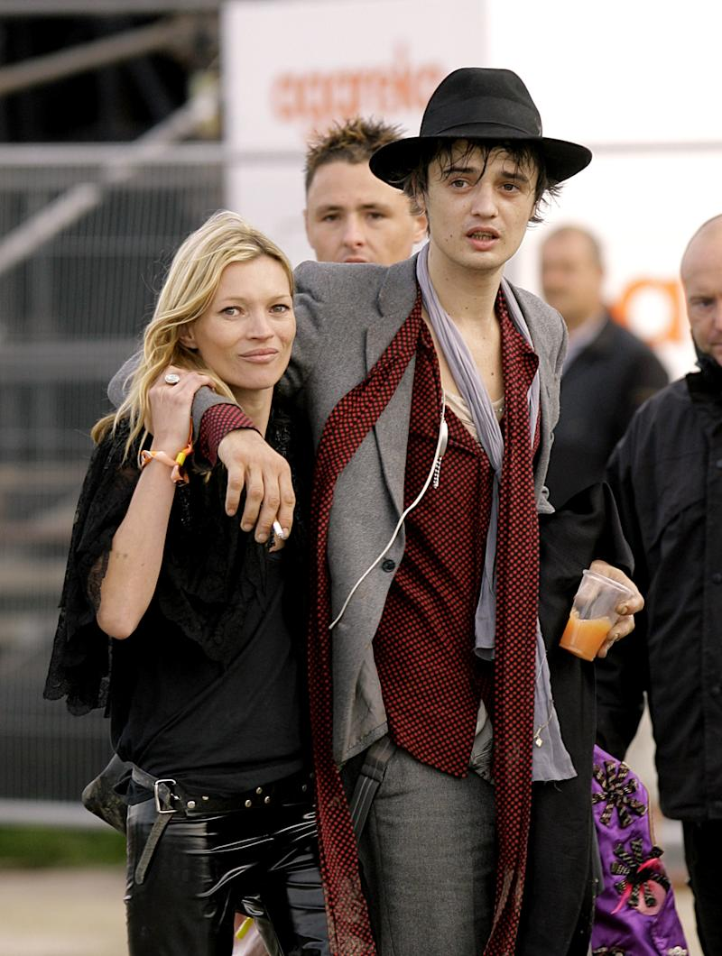 Kate Moss and Pete Doherty at the 2007 Glastonbury Festival at Worthy Farm in Pilton, Somerset. (Photo by Yui Mok - PA Images/PA Images via Getty Images)