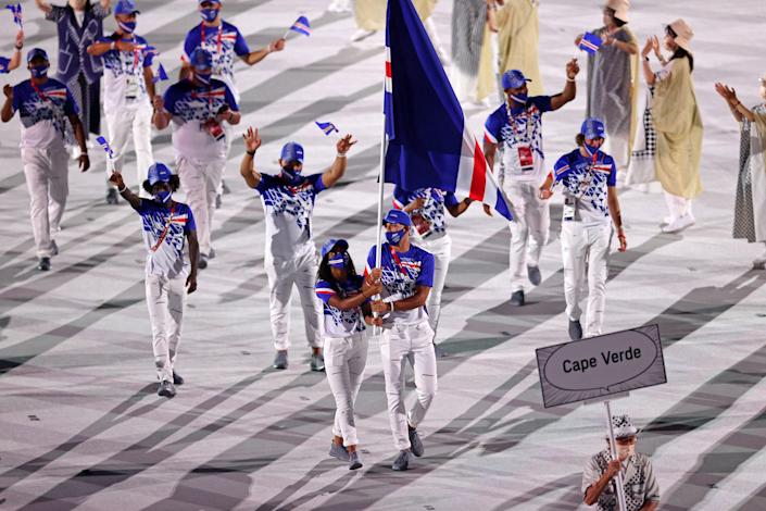 <p>TOKYO, JAPAN - JULY 23: Flag bearers Jayla Pina and Jordin Andrade of Team Cape Verde during the Opening Ceremony of the Tokyo 2020 Olympic Games at Olympic Stadium on July 23, 2021 in Tokyo, Japan. (Photo by Patrick Smith/Getty Images)</p>