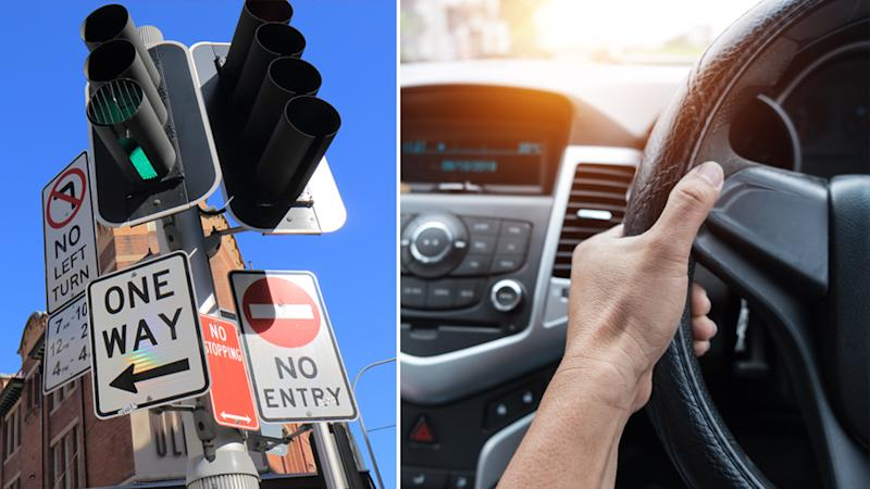 New road rules are coming in 2020. Pictured is a stock image of traffic lights on the left and a hand gripping a steering wheel on the right.