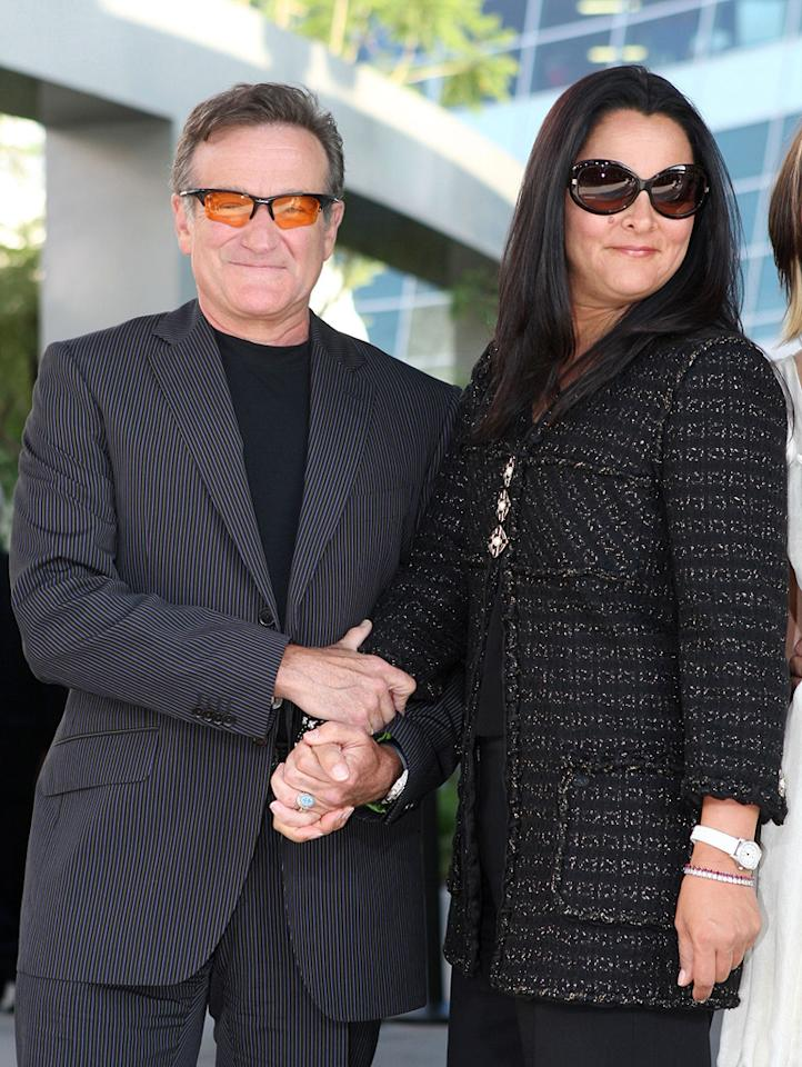 "Although she stood by him as he battled alcoholism and entered rehab in 2006, Robin Williams' wife of 19 years, Marsha Garces, filed for divorce in March. Kevin Winter/<a href=""http://www.gettyimages.com/"" target=""new"">GettyImages.com</a> - June 25, 2007"