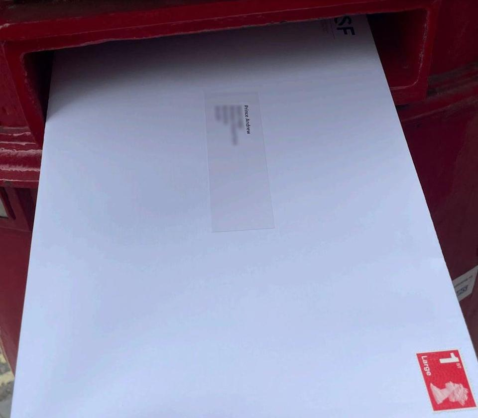 Pictures have surfaced showing a large white envelope addressed to the duke being put into a Royal Mail postbox (Boies Schiller Flexner/HANDOUT)