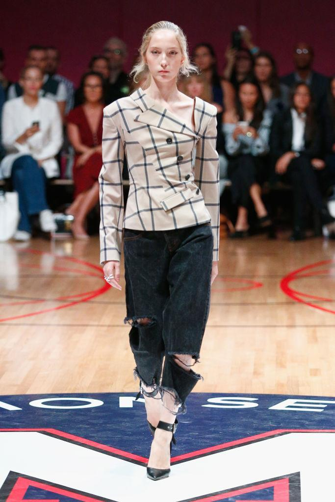 <p>Over at Monse, models stepped out in checked blazers baring a little cold-shoulder. <em>[Photo: Getty]</em> </p>