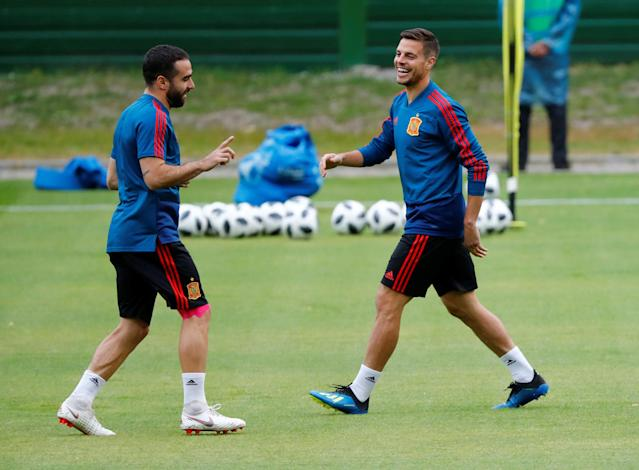 Soccer Football - World Cup - Spain Training - Spain Training Camp, Kaliningrad, Russia - June 24, 2018 Spain's Cesar Azpilicueta and Dani Carvajal during training REUTERS/Fabrizio Bensch
