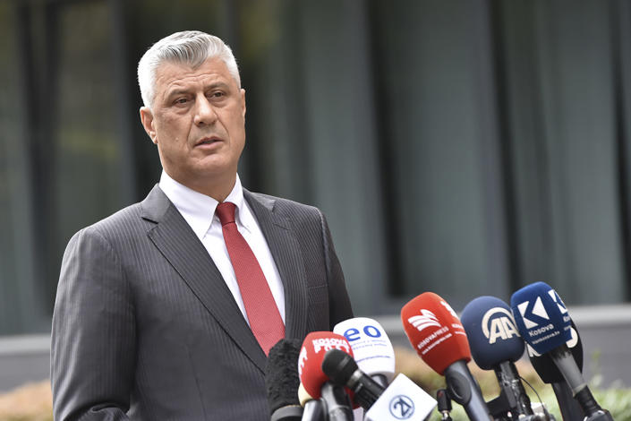 "Kosovo president Hashim Thaci addresses the nation as he announced his resignation to face war crimes charges in Kosovo capital Pristina on Thursday, Nov. 5, 2020. Thaci, a guerrilla leader during Kosovo's war for independence, has resigned in order to face charges for war crimes and crimes against humanity issued by at a special court based in The Hague, Netherlands. Thaci announced his resignation at a news conference on Thursday. He said he was taking the step ""to protect the integrity of the presidency of Kosovo."" (AP Photo/Visar Kryeziu)"