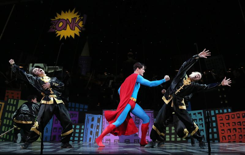 """This undated image released by Helene Davis Public Relations shows Edward Watts as Superman, center, in Encore's """"It's A Bird It's A Plane It's Superman,"""" performing through March 24 at New York City Center in New York. (AP Photo/Helene Davis Public Relations, Joan Marcus)"""
