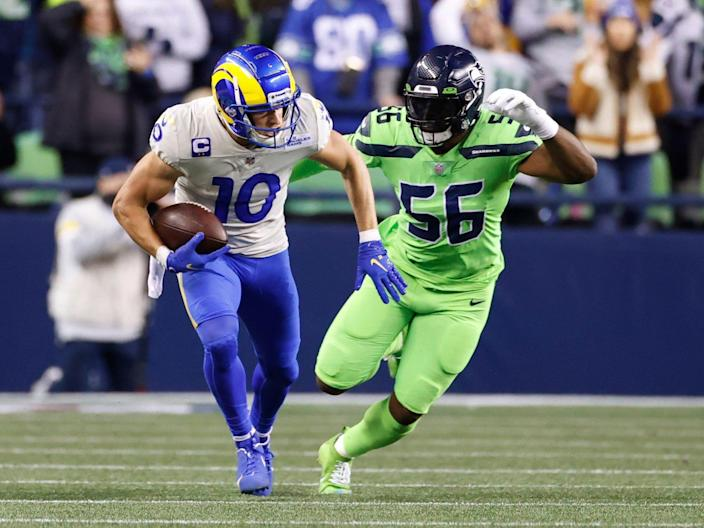 Cooper Kupp makes a play against the Seattle Seahawks.