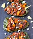 """This Mexican-inspired recipe swaps out the refined carbs in tortillas and chips for vitamin C- and A-rich bell peppers. Picadillo is a flavorful combination of seasoned ground beef and potatoes mixed with chili peppers. We promise you're not going to feel deprived one bit with this dish. <strong>Get the recipe from <a rel=""""nofollow noopener"""" href=""""https://www.chilipeppermadness.com/chili-pepper-recipes/stuffed-chili-peppers/picadillo-stuffed-poblano-peppers/"""" target=""""_blank"""" data-ylk=""""slk:Chili Pepper Madness"""" class=""""link rapid-noclick-resp"""">Chili Pepper Madness</a>.</strong>"""