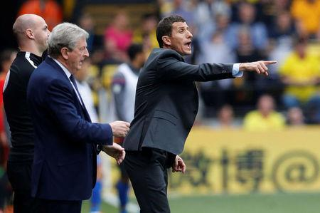 Soccer Football - Premier League - Watford v Crystal Palace - Vicarage Road, Watford, Britain - April 21, 2018 Watford manager Javi Gracia and Crystal Palace manager Roy Hodgson REUTERS/Darren Staples