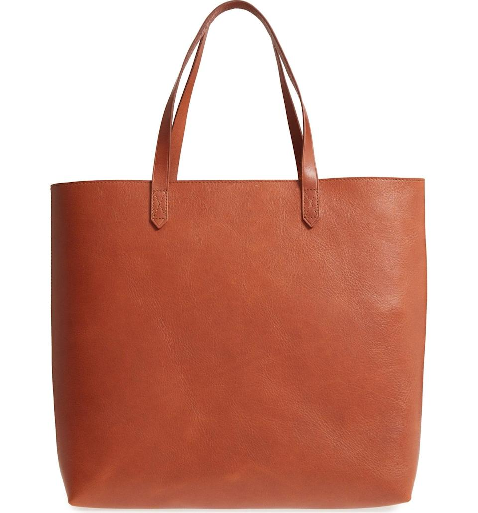 <p>The brilliance of this <span>Madewell Zip Top Transport Leather Tote</span> ($178) is that it comes with a zippered top, which is practically an anomaly when shopping for a tote bag. It'll keep your valuables protected and still give you that easy silhouette.</p>