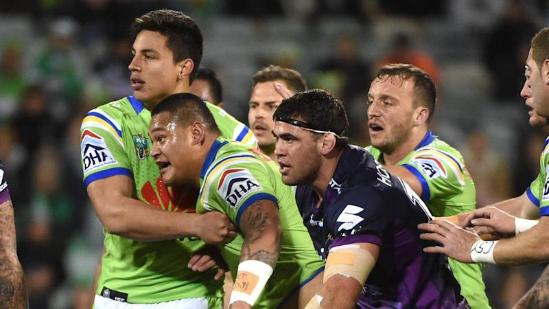 Two first-half tries to Joey Leilua have helped Canberra to a 22-8 NRL win over Melbourne.