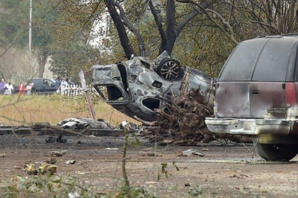 PHOTO: A photo shows a wrecked car which a plane crashed into near Verot School and Feu Follet roads in Lafayette, la., Dec. 28, 2019. (Lafayette Daily Advertiser via Imagn)