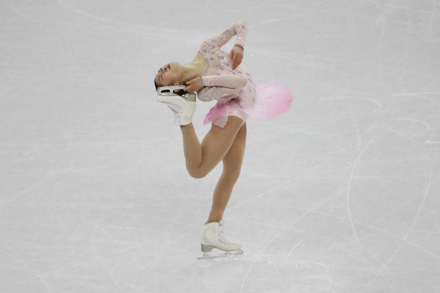 <p>Japan's Sakoto Miyahara performs during the team ladies single skating training at the 2018 Winter Olympics in Gangneung, South Korea, Saturday, Feb. 10, 2018. (AP Photo/Bernat Armangue) </p>