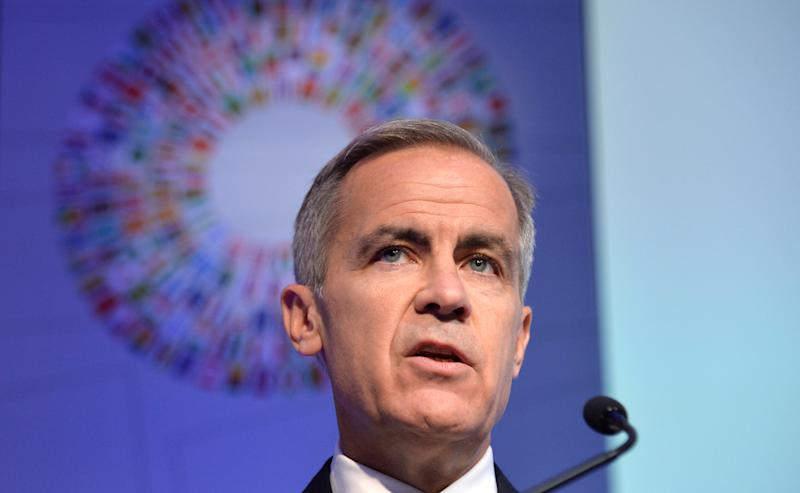 "Governor of the Bank of England Mark Joseph Carney makes remarks during a ""Governor Talks"" session of the IMF and World Bank's 2019 Annual Meetings of finance ministers and bank governors, in Washington, October 18, 2019. REUTERS/Mike Theiler"