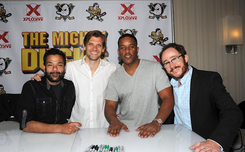 """PARSIPPANY, NJ - APRIL 25: Shaun Weiss, Vincent La Russo, Brandon Quintin Adams and Matt Doherty from the movie """"The Mighty Ducks"""" attends day 2 of the Chiller Theater Expo at Sheraton Parsippany Hotel on April 25, 2015 in Parsippany, New Jersey. (Photo by Bobby Bank/WireImage)"""