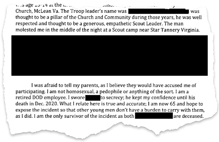 One of hundreds of letters sent to Judge Laurie Silverstein in the Boy Scouts bankruptcy case depicting stories of sexual abuse. Many of the graphic details have been redacted.