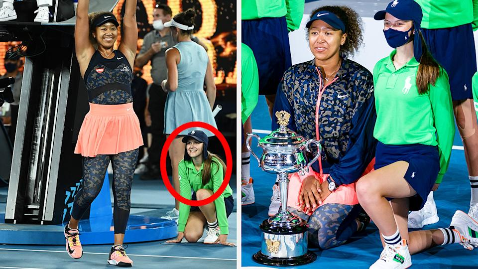 Australian Open champion Naomi Osaka has shouted out a ball girl pictured beaming in the moments after she won her fourth grand slam title. Pictures: Getty Images