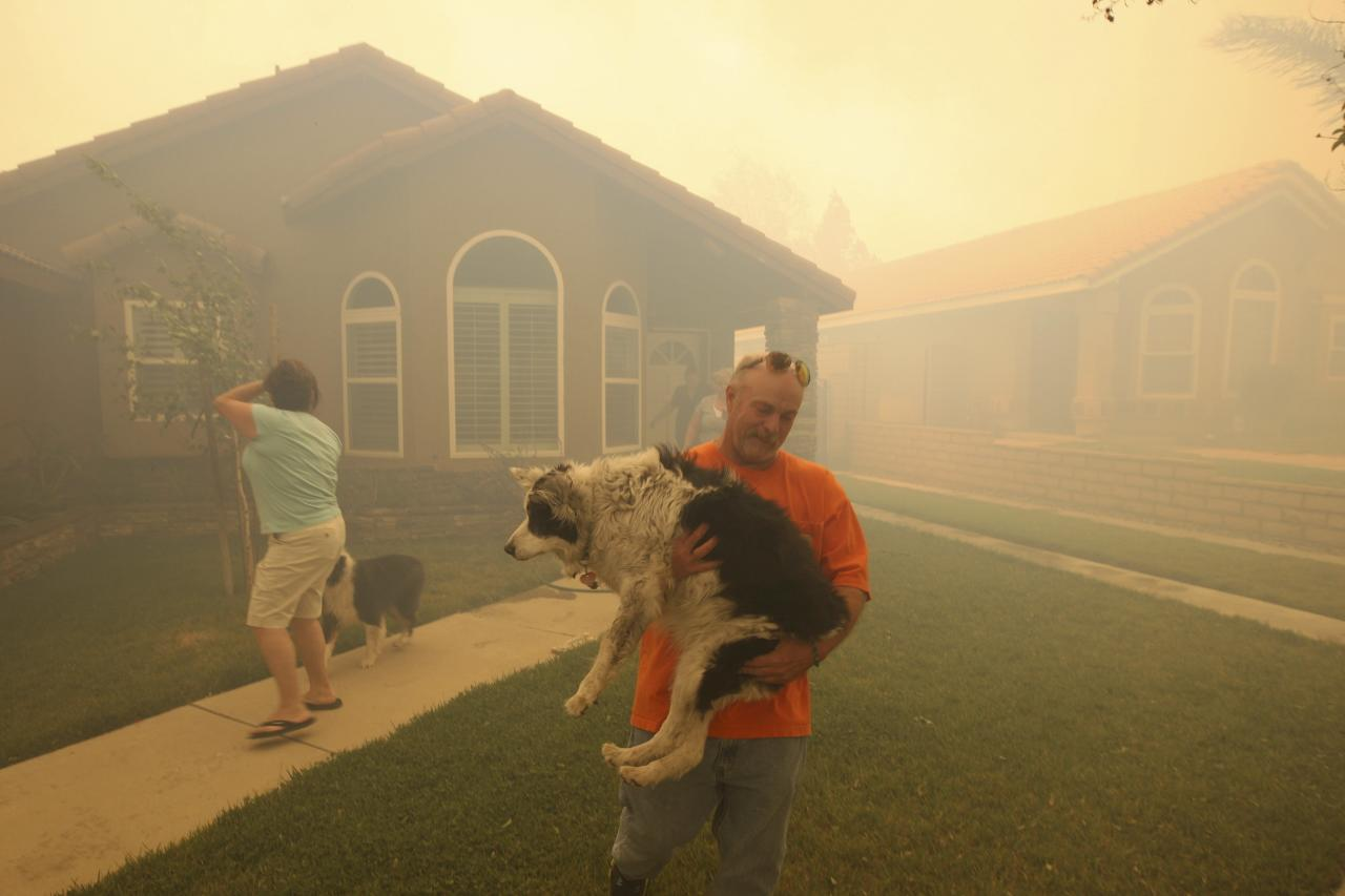 People evacuate from their homes as a wildfire driven by fierce Santa Ana winds closes in on them in Rancho Cucamonga, California, April 30, 2014. The wind-driven brush fire burning out of control in drought-parched Southern California wildland on Wednesday forced the evacuation of about 1,000 residents north of the town of Rancho Cucamonga, officials said. REUTERS/David McNew (UNITED STATES - Tags: DISASTER ANIMALS TPX IMAGES OF THE DAY)