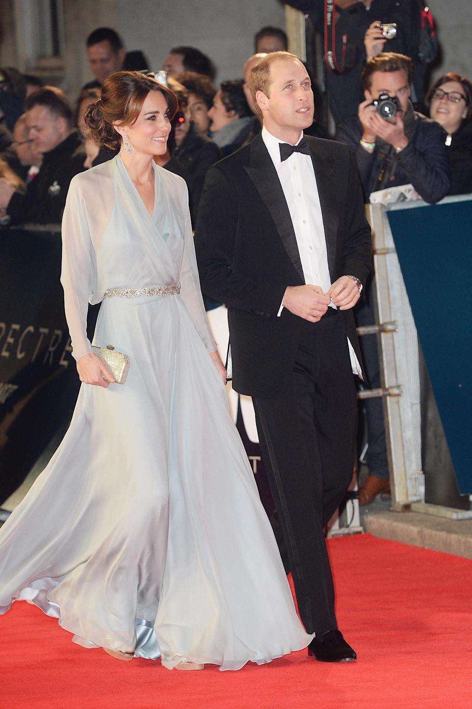 <p>The mother-of-three chose a sheer Jenny Packham dress with a co-ordinating clutch and Jimmy Choo platforms. <em>[Photo: Getty]</em> </p>