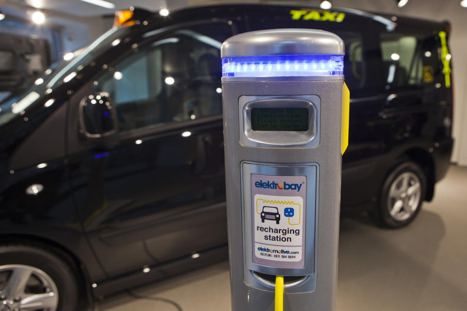 Here an electrically powered black taxi recharges at an Elektrobay recharging station in London, UK. These stations are situated across the UK and are the product of Elektromotive, a company dedicated to designing and installing technology for recharging electric and plug-in hybrid electric vehicles. (Photo by In Pictures Ltd./Corbis via Getty Images)